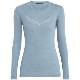 SALEWA Solidlogo Dry T-shirt à manches longues Femme, blue fog melange